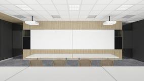 Auditorium vuoto di riunione in ufficio corporativo con la stazione termale nera Immagine Stock