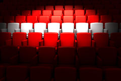 Auditorium with white reserved row Royalty Free Stock Photos