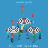 Auditory targeting marketing business flat isometric vector 3d. Auditory targeting flat 3d isometry isometric marketing business concept web vector illustration Royalty Free Stock Photos