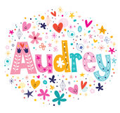 Audrey female name decorative lettering type design Stock Photography