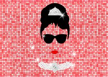 Audrey Hepburn, with sunglasses, vector portrait isolated or gold rose glitter texture.  royalty free illustration