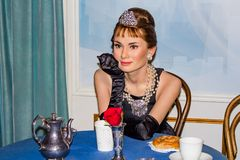 Audrey Hepburn wax figure, Madame Tussaud`s Museum Vienna stock photography