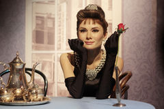 Audrey Hepburn. Wax statue at Madame Tussauds in London royalty free stock image
