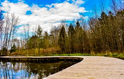 Audubon Nature Center Boardwalk In Fox Point Wisconsin. With its diverse landscape, the Schlitz Audubon Nature Center is the place to be on a beautiful day in royalty free stock photography