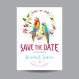 Außer dem Datum Abstraktionsabbildung für Hochzeit Tropische Blumen und Papageien-Vogel Stockfotos