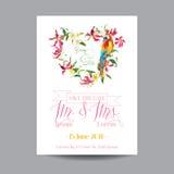 Außer dem Datum Abstraktionsabbildung für Hochzeit Tropische Blumen und Papageien-Vogel Stockbilder