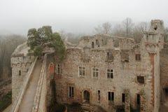 Auerbach Castle (Auerbacher Schloss). On a foggy day Royalty Free Stock Photography