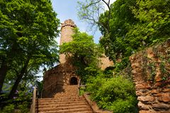Auerbach castle entrance in spring trees foliage. In southern Hesse, Germany Europe Royalty Free Stock Photo