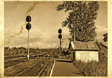 Auf alter Fotographie lizenzfreie abbildung