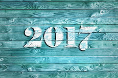 2017 auf blauer Platte Stockfotografie