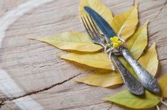 Auf Danksagungs-Tagesrostigem Tischbesteckmesser und -gabel, Metall und vint Stockbild