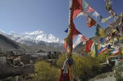 Auf DAS Annapurna Massiv de Blick em Kagbeni, mustang Fotos de Stock Royalty Free