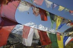 Auf das Annapurna Massiv di Blick in Kagbeni, mustang Fotografia Stock