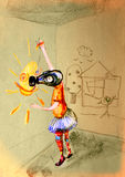 Auf das Papier des Kindes in der Gasmaske zeichnen, eine Sonne zeichnend Lizenzfreies Stockfoto