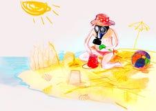 Auf das Papier des Kindes in der Gasmaske zeichnen, spielend auf dem Strand Stockfotos