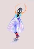 Auf das Papier des Mädchens in der Gasmaske zeichnen, Ballett spielend Stockbild