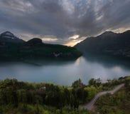 Auf dem Abendsee die Schweiz Lizenzfreie Stockfotografie