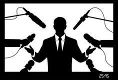 Auf dem Bild wird der Politiker, der zum Interview gibt, dargestellt Vektor Abbildung