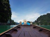 Auf dem Boot in dem Meer Stockbild