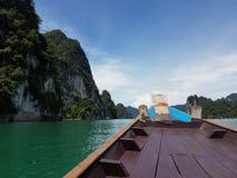 Auf dem Boot in dem Meer Stockfoto