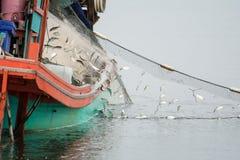 Auf dem Fischerboot viele Fische fangend stockbilder