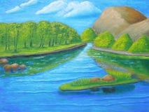 Auf dem Fluss stock abbildung