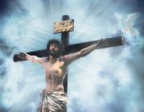 Auf dem Kreuz Stockbild