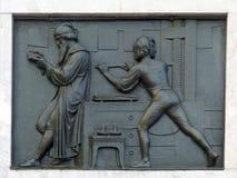 Auf dem Monument zu Gutenberg, Mainz stockbild