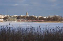 Auf dem Parkrand in Helsinki Stockfotografie