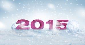 2015 auf dem Schnee für das neue Jahr und das Weihnachten lizenzfreie stockbilder