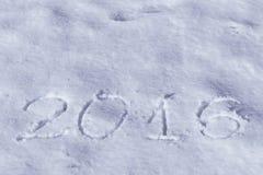 2016 auf dem Schnee für das neue Jahr und das Weihnachten Stockbild