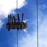 Auf dem Skiaufzug Stockfotografie