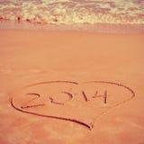 2014 auf dem Strand Lizenzfreie Stockfotos