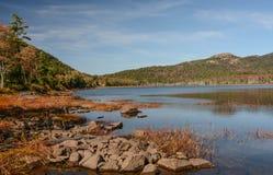 Auf dem Ufer im Acadia-Nationalpark Stockfotografie
