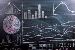 Auf den gezogenen Grafiken der Tafel und die Wachstumsmuster und die Reduzierung von cryptocurrency Wirtschaftsausbildungsstätte stockfotografie