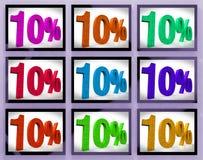 10 auf den Monitoren, die einige Rabatte und Förderungen zeigen Stockbild