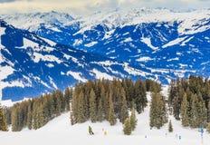 Auf den Steigungen des Skiorts Brixen im Thalef Tirol Lizenzfreie Stockfotos