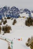 Auf den Steigungen des Skiorts Scheffau Tirol Lizenzfreies Stockbild