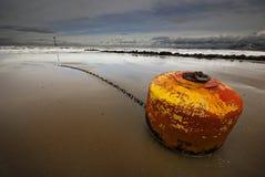 Auf den Strand gesetzte Boje Stockfotografie