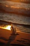 Auf den Strand gesetzte Flasche Lizenzfreies Stockfoto