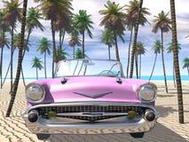 Auf den Strand gesetzter Cadillac Stockfotografie