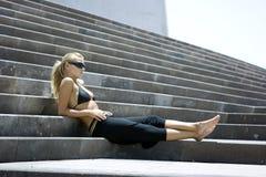 Auf den Treppen Stockfotos