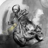 Auf der Autobahn Motorradreiter - eine Handgezogene Illustration lizenzfreie abbildung