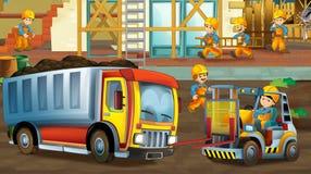 Auf der Baustelle - Illustration für die Kinder Stockbilder