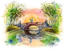 Auf der Brücke stock abbildung