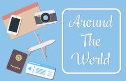Auf der ganzen Welt Konzept mit Reisegegenständen stock abbildung