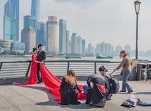 Auf der Promenade Shanghai, China Lizenzfreie Stockfotos