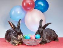 Auf der roten Abdeckung, zwei Kaninchen und einem Vase mit Eiern Stockbilder