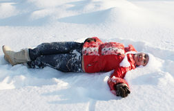 Auf der Schneewehe Stockfoto