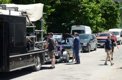 Auf der Standortschmierfilmbildung, die ` Johnny-` s Auto ` nahe dem Café tropisch ein fiktives Restaurant gekennzeichnet in Schi lizenzfreie stockbilder